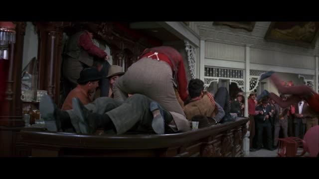 stockvideo's en b-roll-footage met saloon - barroom brawl - - acteren