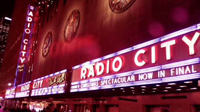 radio city marquee billboard christmas time - radio city music hall stock videos & royalty-free footage