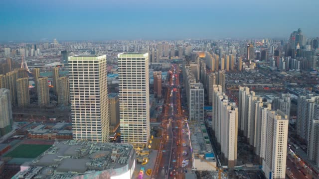 TIMELAPSE AERIAL VIEW OF CITYSCAPE