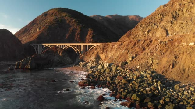 big sur 4k drone - bixby creek bridge stock videos & royalty-free footage