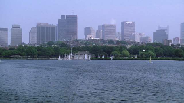 wide angle of boston city skyline. sailboats on charles river. pan right to left of longfellow bridge over river. - river charles stock videos & royalty-free footage