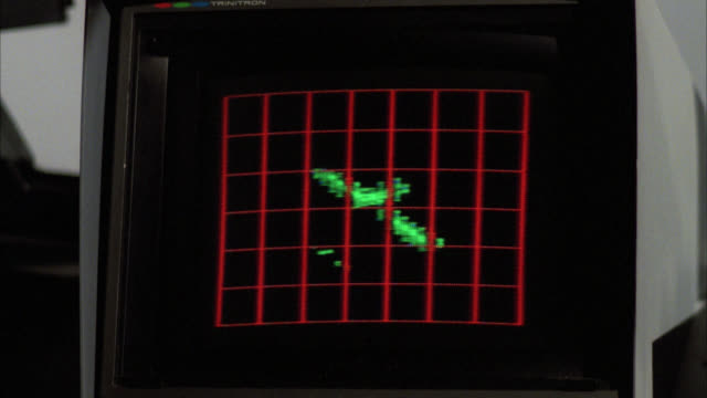 vidéos et rushes de close angle of television video monitor screen. computer  graphics on display of graph matrix with video under. green heat sensor patterns in shape of moving airplane. could be military or surveillance footage. could be video games or simulation. could be - équipement informatique