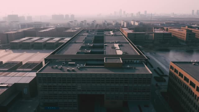 aerial view of office buildings - roof stock videos & royalty-free footage