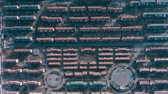 directly above view of residential district - block shape stock videos & royalty-free footage