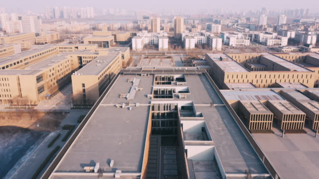 stockvideo's en b-roll-footage met aerial view of buildings - school building
