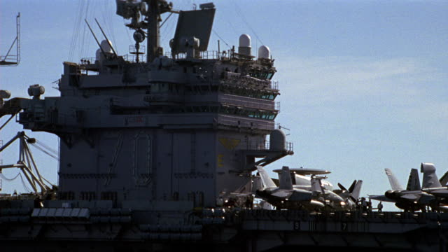 wide angle of control tower or antenna mast of uss abraham lincoln navy aircraft carrier. - air traffic control tower stock videos and b-roll footage
