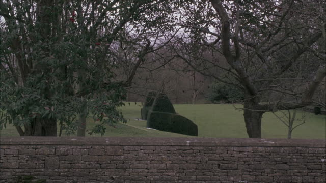 wide angle of stone wall. manicured lawn and sculptured shrubs, hedges, or bushes in bg. could be lawn of estate, country club, or mansion. - stately home stock videos & royalty-free footage
