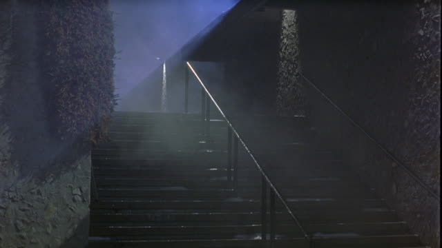 medium angle of fog covered stairs. could be a university or college campus. - nebbia video stock e b–roll