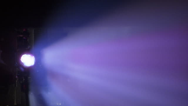 close angle of light coming through a projector in a cinema or movie theater.  light shoots through dust in the air, causing different colors of light to flash in the theatre. - projection stock videos & royalty-free footage