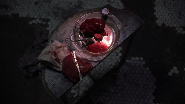 HIGH ANGLE DOWN OF HUMAN INTERNAL ORGAN, POSSIBLY KIDNEY, IN GLASS DISH WITH SURGICAL TOOL SCISSORS. SCALPEL OR KNIFE ON BLOODY TOWEL ON OLD TABLE. DIRTY TILE FLOOR IN BG. SURGERIES. GORE.