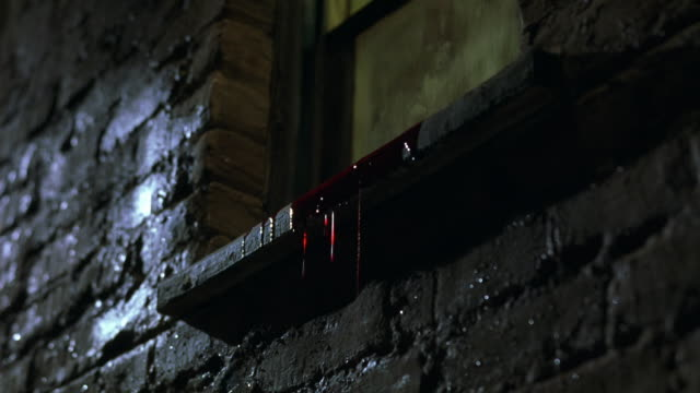 up angle of window in brick building. blood pours over window sill. drips down. window opens to reveal broken, blood-covered glass. hand in latex glove tosses internal organ, possibly kidney, out window. window slams closed. gore. - bloody gore stock videos & royalty-free footage