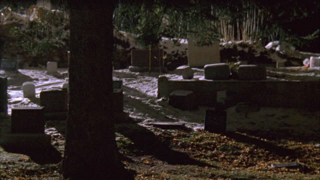 PAN LEFT TO RIGHT SHOWS CEMETERY WITH TREES, HEADSTONES, TOMBSTONES ON HILLSIDE. LIGHT SPRINKLING OF SNOW SEEN.