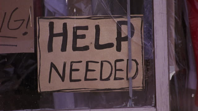 """pan right to left of laundry storefront or dry cleaner. signs read """"help needed,"""" """"now hiring,"""" and """"no experience necessary."""" - recruitment stock videos & royalty-free footage"""
