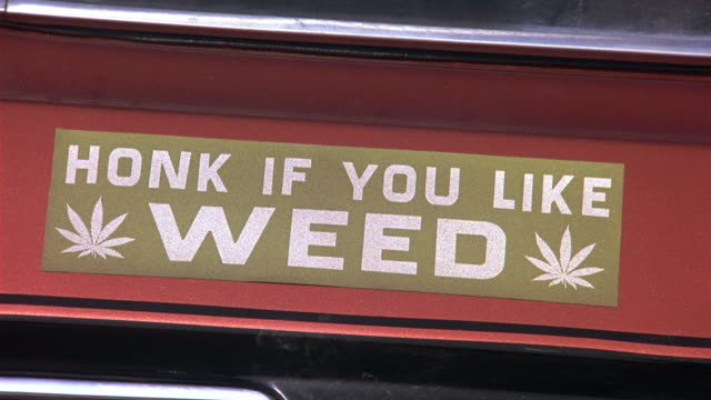 "close angle of bumper sticker that reads ""honk if you like weed"" on back of 1974 amc gremlin hatchback classic car. car begins to drive away. maryland license plate visible. drugs. - stötfångare bildbanksvideor och videomaterial från bakom kulisserna"