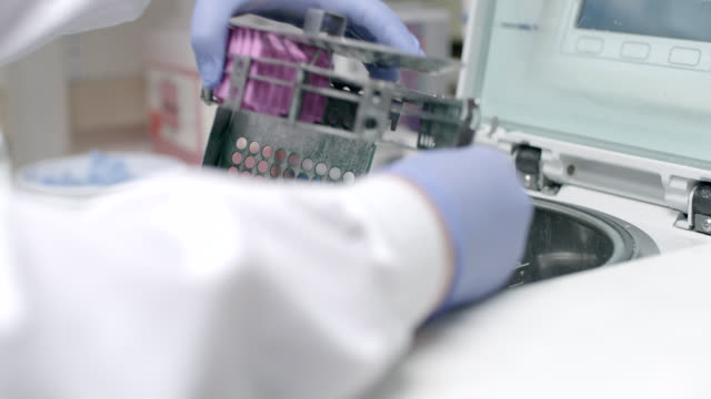 close angle of doctor, nurse, lab technician, or scientist in laboratory handling medical equipment. medical equipment put into centrifuge. rubber gloves. could be hospital. - strumenti video stock e b–roll
