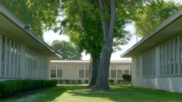 medium angle of trees and grass between one-story school buildings. - junior high stock videos & royalty-free footage