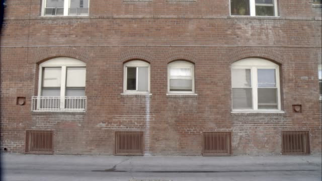 medium angle of brick wall of multi-story apartment building. dog - ziegelmauer stock-videos und b-roll-filmmaterial