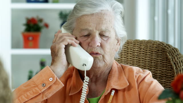 elderly woman on phone-1080hd - one senior woman only stock videos and b-roll footage