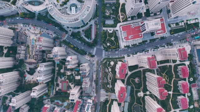 road intersection aerial view - liyao xie stock videos & royalty-free footage