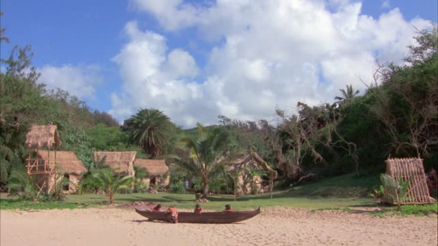 wide angle of small village with wooden huts surrounded by plants, trees, foliage. could be on topical island or jungle. indigenous people repairing small canoe or boat on sandy beach in fg. - 広角撮影点の映像素材/bロール