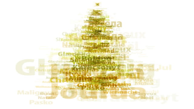 MERRY CHRISTMAS (TREE) IN ALL IMPORTANT LANGUAGES. (seamless_loopable)