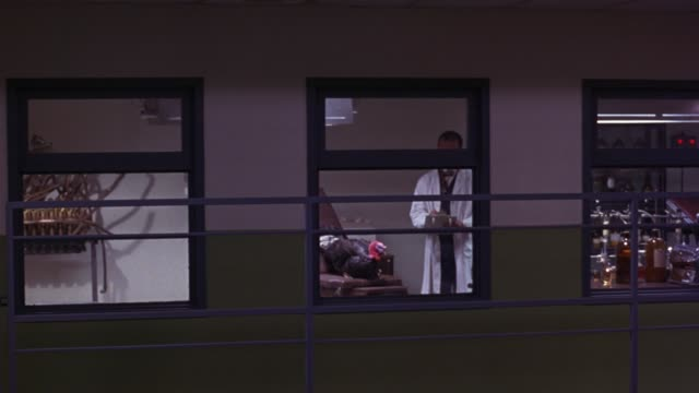 PAN LEFT TO RIGHT OF MEDICAL RESEARCH FACILITY OR EXPERIMENTATION FACILITY. VIEW THROUGH WINDOWS AS DOCTOR OR SCIENTIST WEARING LAB COAT PUSHES MAN IN WHEELCHAIR.