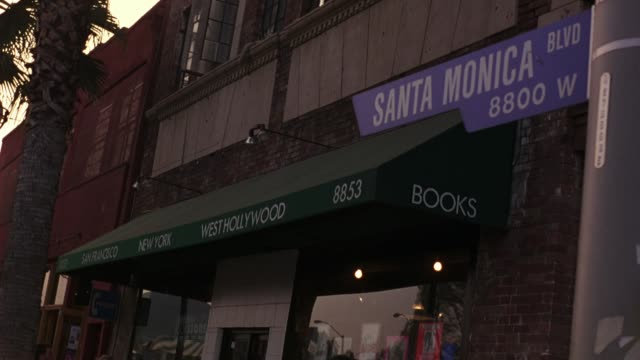 """medium angle of """"santa monica blvd"""" street sign on a light pole. bookstore awning visible in bg. palm tree visible to left. hollywood. - santa monica blvd stock videos & royalty-free footage"""