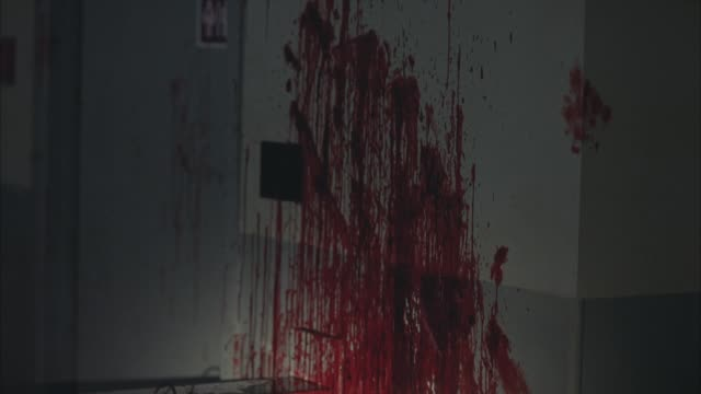 medium angle flashlight pov of blood splattered on wall and counter of kitchen. coffee maker and microwave visible. gore. crime scenes. murders. - mord stock-videos und b-roll-filmmaterial
