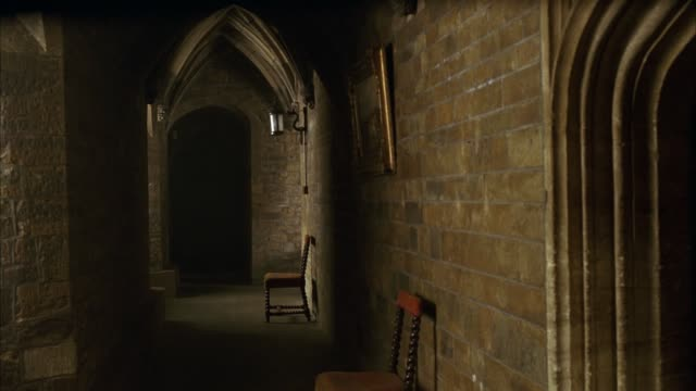wide angle of stone and brick hallway or corridor with arched ceiling of medieval castle. chairs and painting suggest contemporary use. could be bed and breakfast or residence. - castle stock videos & royalty-free footage