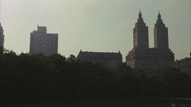 wide angle of city with high rise or multi-story buildings, apartment buildings or condominiums with towers behind trees in central park. new york city skylines. san remo building. upper class. upper west side. - remo stock videos and b-roll footage