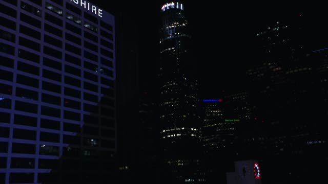 wide angle of downtown los angeles skyline. union bank plaza, us bank tower and bank of america tower. cityscape. - us bank tower stock videos & royalty-free footage
