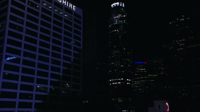 WIDE ANGLE OF DOWNTOWN LOS ANGELES SKYLINE. UNION BANK PLAZA, US BANK TOWER AND BANK OF AMERICA TOWER. CITYSCAPE.