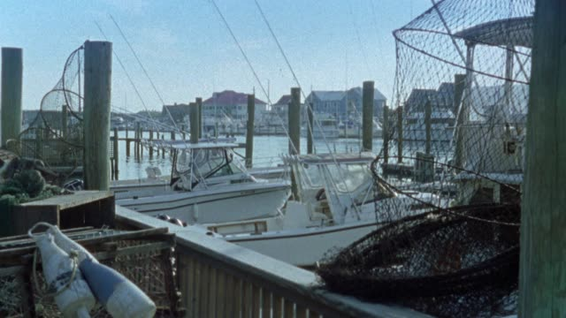 wide angle of boats in dock. fishing nets. houses in bg along bay or river. - wilmington north carolina stock-videos und b-roll-filmmaterial
