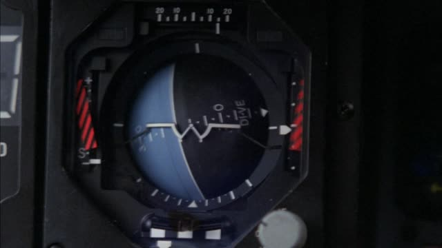 close angle of artificial horizon gauge. ball is spinning in clockwise direction indicated jet performing rolling maneuver. insert. insert - work tool stock videos & royalty-free footage