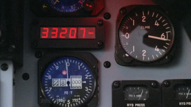 close angle of jet control panel. several altimeters, gauges and dials visible. middle east. - cockpit stock videos & royalty-free footage