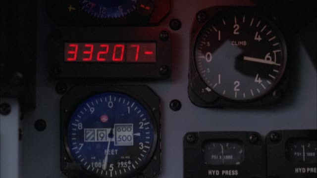 "vídeos de stock e filmes b-roll de close angle of jet fighter control panel. see altimeter falling quickly. see other gauges. one labeled ""climb."" - instrumento de medição"