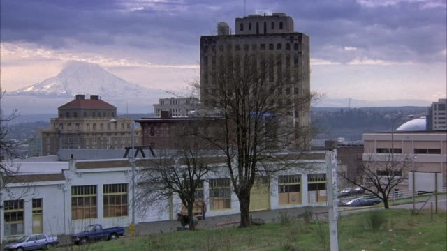 medium angle shot of commercial area.  several buildings in middle ground and mount rainier visible in background. trees visible in foreground. - cascade range stock videos & royalty-free footage
