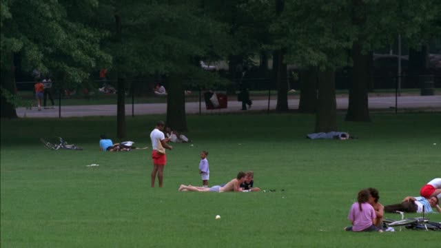 medium angle of people relaxing and sitting in central park. several men shirtless. chain link fence, road, path, and trees or forest in background. - shirtless stock videos & royalty-free footage