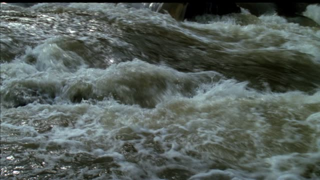 close angle of river rapids flowing, could be flash flood waters. - översvämning bildbanksvideor och videomaterial från bakom kulisserna