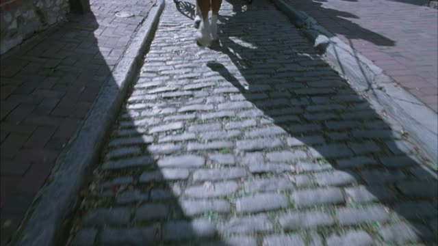 medium angle down of cobblestone street. horse drawn carriage turns in street. shot focused on only hooves at first, then pans up to front of horse. see man dressed in colonial wear driving horse while four female tourists sit in carriage. carriage passes - kopfsteinpflaster stock-videos und b-roll-filmmaterial
