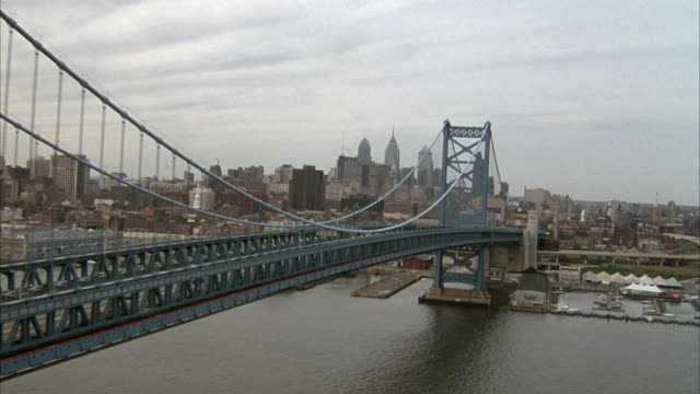 AERIAL ALONG BENJAMIN FRANKLIN BRIDGE AND DELAWARE RIVER, MOVES OVER RIVER, ZOOMS IN ON PHILADELPHIA SKYLINE AND WILLIAM PENN STATUE ON CITY HALL.