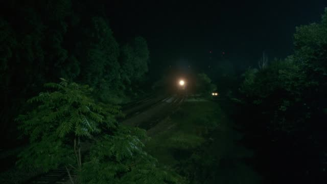 pan down. wide angle of freight train traveling from background in middle of forest at night. see car driving parallel to train toward camera. pan down as car and train approach frame left. car passes out of shot. - 貨物列車点の映像素材/bロール
