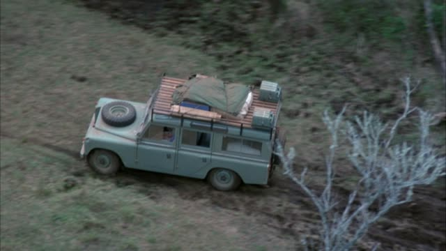 aerial of green land rover with luggage on top driving on country road in forest, view obscured several times by trees.  see man in passenger side of suv at end. - land rover stock videos and b-roll footage