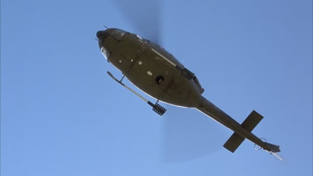 up angle of bottom of army green helicopter as it hovers over pov. see white light or led flashing at base of helicopter. zoom in to nose of helicopter. pan across jerkily to body and then tail. pan smoothly to nose and pull back. see clear blue sky in ba - hovering stock videos & royalty-free footage