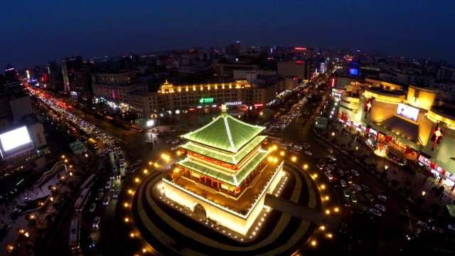 vídeos y material grabado en eventos de stock de bell tower of xi'an - pagoda templo
