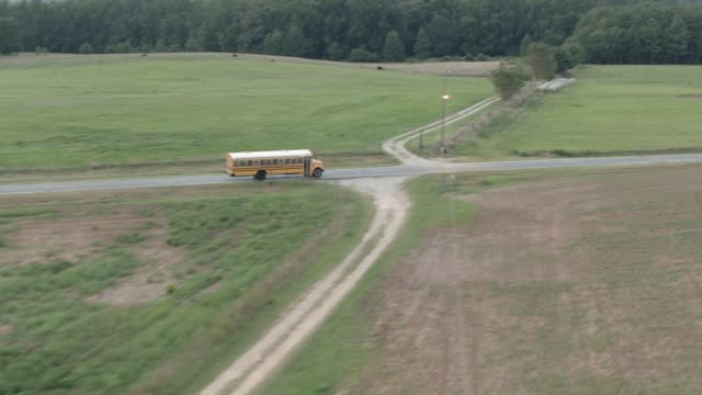 aerial of school bus driving left to right on country road through countryside or rural area. could be farmland. trees, woods, or forest visible. - georgia stati uniti meridionali video stock e b–roll