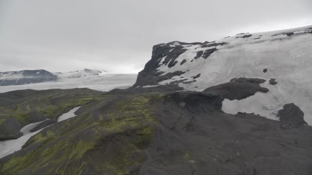 aerial of glacier in iceland. could be mountains. ice and snow visible. - iceland stock videos & royalty-free footage