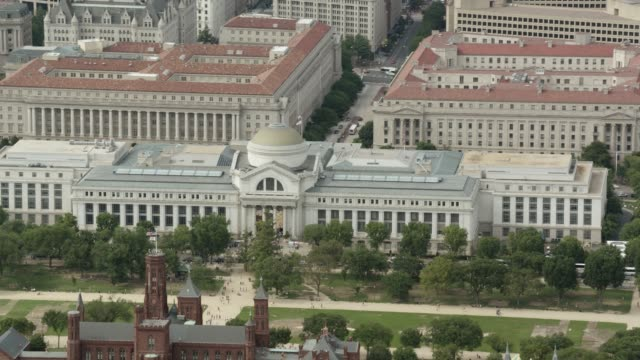 aerial of national archives building and smithsonian museums. natural history museum and museum of american history on national mall. freer gallery. - smithsonian institution stock videos & royalty-free footage