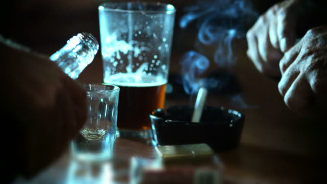 whiskey shot and a pill-vices-hd - alcohol stock videos & royalty-free footage