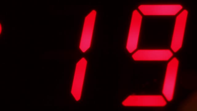 stockvideo's en b-roll-footage met close angle of digital countdown or clock. could be bomb or explosive. could be digital clock or timer. - bomb countdown timer